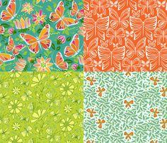 Flying Fancy Butterfly Garden_Coordinates fabric by robinpickens on Spoonflower - custom fabric