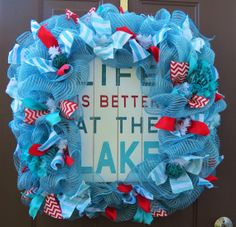 Summer Deco Mesh Wreath Lake House Deco Mesh by FestivalofWreaths, $90.00