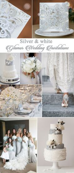 glitter silver and white glamour wedding ideas with invitations