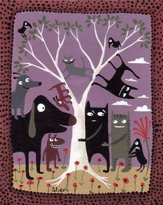 Purple Dog and Cats Art Print 8x10 Whimsical Folk Art by 3crows, $18.00