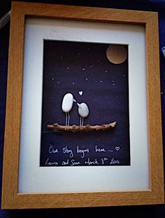 Pebble art picture, hand made in Ireland.. Made from pebbles found on Killiney beach in Dublin, Ireland. A great gift for family for any
