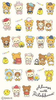 #Rilakkuma wallpaper (╹◡╹) Rilakkuma Wallpaper, Kawaii Wallpaper, Kawaii Stickers, Cute Stickers, Kawaii Drawings, Cute Drawings, Kawaii Chibi, Japanese Cartoon, Cute Cartoon Wallpapers