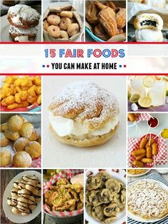 15 Fair Foods You Can Make At Home – bring the county and state fair home to your kitchen with these fantastic 15 Fair Foods You Can Make At Home; baked, deep fried, on-a-stick yummy goodness! #reciperoundup #sweetcreations #fairfoodrecipes #fairfood #homemadefairfood Best Dessert Recipes, Fun Desserts, Sweet Recipes, Delicious Desserts, Recipes Dinner, Tequila Shots, State Fair Food, State Fair Party, Deep Fried Recipes