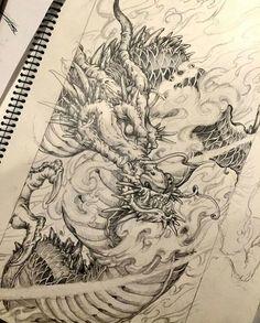 🐉 Artwork b Japanese Dragon Tattoos, Japanese Tattoo Art, Japanese Art, Tattoo Sketches, Art Sketches, Body Art Tattoos, Sleeve Tattoos, Dragon Oriental, Cosplay Steampunk