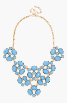 Prom worthy! This blue statement necklace will look great with a strapless dress.