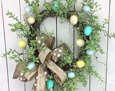 Easter Egg Wreath, Egg Door Hanger, Egg Wreath,Ester Door Hanger, Easter Wreath, Double Door Wreath, Spring Wreath, Natrural Easter Wreath