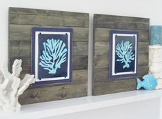 Coral Wall Art Set of 2 Driftwood Framed 8x10 by ProjectCottage, $165.00