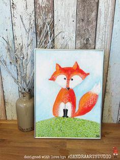 New to SandraArtStudio on Etsy: DIGITAL Print kids art FOX - Instand download - Fox painting (10.00 EUR)