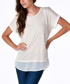Oatmeal & White Lace Hem Scoop Neck Top