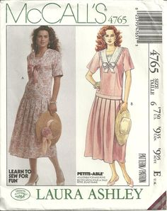 McCalls 4765 Sweet Vintage Laura Ashley Drop Waist Dress Sewing Pattern Size 6