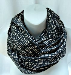 Black and Tan Abstract Print Infinity Scarf by SewSophistikated on Etsy