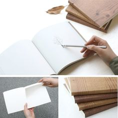 Woodgrain Eco Sketchbook via POKETO Guest book or put one at each table or have at shower, bachelor/ette parties.