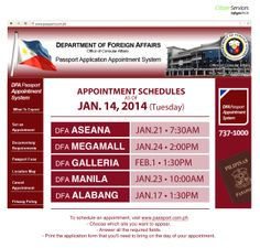 DFA Passport Appointment schedule update: January 14, 2014  #Citizenservices #DFAPassportappointment