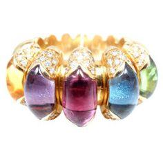 BULGARI Celtaura Diamond Five Brilliant Color Stone Gold Ring