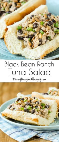 1 2 (5 ounce cans chunk Tuna in water, light. 1/2 cup Black beans, canned. 2 tbsp Scallions. 2 tbsp Ranch dressing. 2 tbsp Sunflower seeds, roasted.