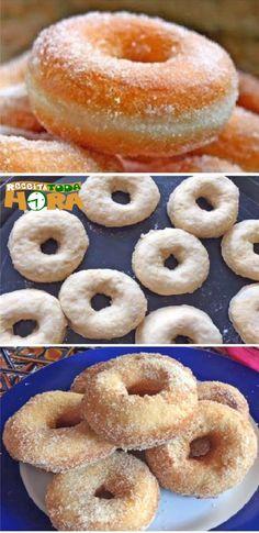 Rosquinhas com Açúcar e Canela #RosquinhascomAçúcareCanela #RosquinhascomAçúcar #Rosquinhas #Receitatodahora Cookies, Doughnut, Quiche, Donuts, Food And Drink, Sweets, Bread, Breakfast, Desserts