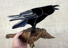 Raven Stained Glass Sculpture on Natural Wood Base by BerlinGlass