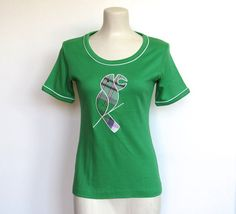 #Vintage 1970 - 80s Cherry Hill / Preppy Green Shirt w/ Plaid Parrot Applique by VelouriaVintage