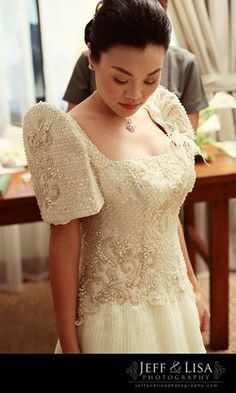filipino wedding preparation dress on bed Modern Filipiniana Dress, Filipiniana Wedding, Wedding Gowns, Philippines Outfit, Philippines Fashion, Debut Gowns, Filipino Wedding, Filipino Fashion, Bridal Traditions