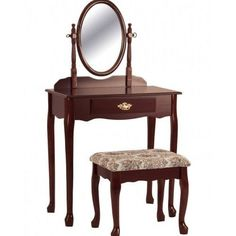 Vanity And Stool Set Makeup Table Mirror Furniture Bedroom Drawer Cherry Finish #CrownMark #Modern
