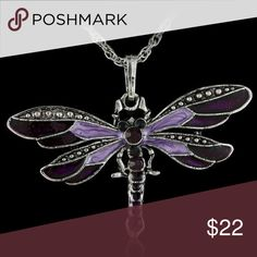 Purple Enamel & Rhinestone Dragonfly Pendant NWT- Lovely rhinestone and enamel dragonfly pendant on silvertone metal. The pendant is approx 2 by 1 I am including a silvertone chain for free. New with Tags Lirrio's Closet Jewelry Necklaces Dragonfly Necklace, Dragonfly Pendant, Rhinestone Necklace, Crystal Necklace, Crystal Pendant, Pendant Necklace, Necklace Chain, Crystal Rhinestone, Fashion Jewelry