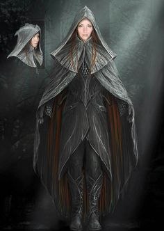 "Concept art of Tauriel in armor with hood from ""The Hobbit: Desolation of Smaug"" (2013). While the finished costume used for filming did indeed have a hood, the final color of Tauriel's suede and leather outfit was dyed a rich moss-green."