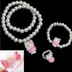 6bf40380f Hello Kitty Necklace Ring Bracelet Set and Hairband Hair Clip Girls Gift Set  Hello Kitty Gifts