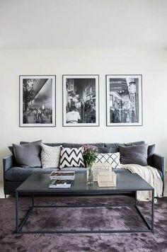 20 Dazzling Purple Living Room Designs - Alexa Home Decor Black And White Living Room, Living Room Grey, Home Living Room, Interior Design Living Room, Living Room Designs, Living Room Decor, Interior Livingroom, Living Room Inspiration, Sweet Home