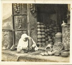 Heritage of India: Rural Indian Pottery Shop vintage photograph