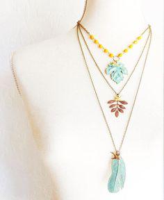 Beaded Maple Leaf Necklace  Verdigris Maple Leaf Necklace