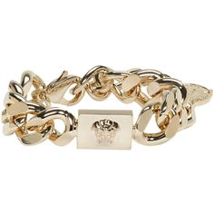Versace Gold Medusa Chain Bracelet ($420) ❤ liked on Polyvore featuring jewelry, bracelets, gold, versace, gold tone jewelry, gold chain jewelry, yellow gold jewelry and chains jewelry