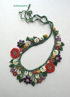 Große Kette mit floralen Motiven handbemalte Halskette mit Mohnblumen Keramik Blumen künstlerischen Schmuck Keramik Schmuck Ton Halskette Mohnblumen