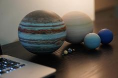 The 8 planets of the Solar System to scale