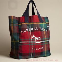 Plum and Ashby red tartan tote bag with navy canvas handles. Tartan Decor, Tartan Plaid, Plum And Ashby, Tartan Fashion, Scottish Tartans, Harris Tweed, Buffalo Plaid, Purses And Bags, Burberry