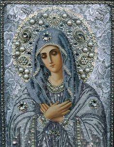 Iconos Maria Yantovskaya bordados con perlas
