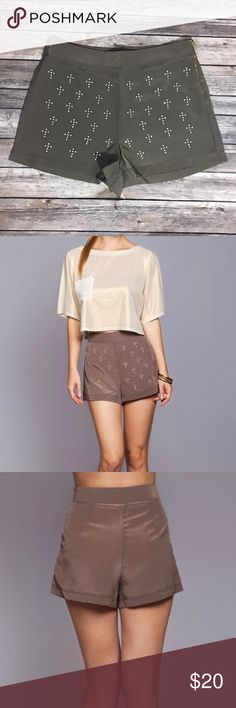 NEW Umgee High Waist Dress Shorts Rhinestone S M L Beautiful new Umgee shorts in neutral taupe. Available in S M L. See photos for size chart. 100% polyester. Umgee Shorts
