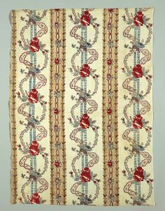 1750–1800 Ribbon-like stripes in yellow and red alternate with intersecting s-curves of lace and floral chains.