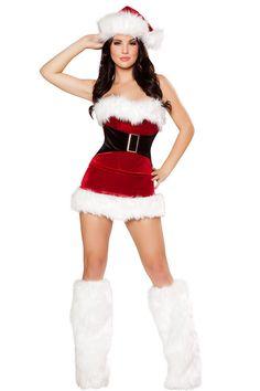 Red Velvet w// White Fur Trim Hat Santa Helper Christmas Costume OS NWT Roma