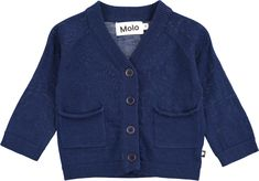 Benjamin - Infinity - Dark blue baby knit in wool with buttons and pockets - molo