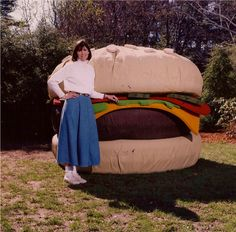 I made this giant cheeseburger out of painter's drop cloths, huge sheets of foam, inflatable kiddie pools and a lot of paint.