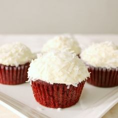 The moistest Red Velvet Cupcakes with NO EGGS and NO BUTTER, topped with sweetened coconut