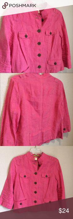 Sigurd Olsen linen pink petite jacket Sigurd Olsen linen pink petite jacket with wooden buttons and mandarin collar Sigrid Olsen Jackets & Coats