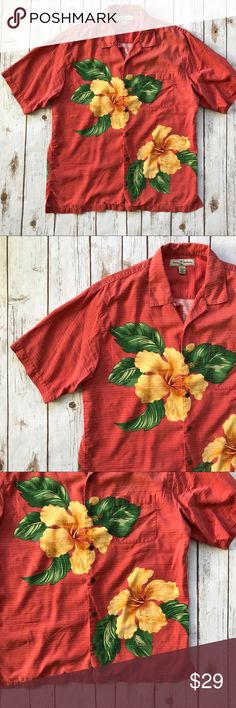 Tommy Bahama silk blend floral aloha shirt medium This is a Tommy Bahama men's short sleeved button up aloha shirt in a vibrant red, yellow, and green floral printed pattern. It is a silk/cotton blended fabric. The shirt is men's size medium.  This shirt is in pre-owned condition with light wear. There is a small hole on the shirt (see close-up photo). There are no stains. Please take a look through the photos to see if this item is right for you! Tommy Bahama Shirts Casual Button Down…