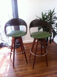 Vintage Mid Century Modern Teak and Wicker Bar Stools on Etsy, $675.00