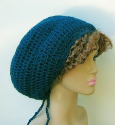 Teal blue pure alpaca wool tam dread slouchy by PurpleSageDesignz, $ 26.00
