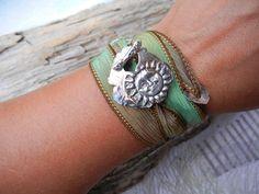 Sun Jewelry Silk Wrap Bracelet Hand Dyed Ribbon by HappyGoLicky, $49.00