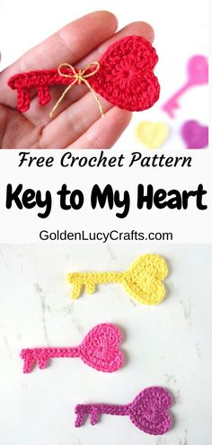 Key to My Heart Crochet Applique Pattern - GoldenLucyCrafts - - This Key to My Heart crochet applique is another heart-shaped design I created for Valentine's Day. This applique will look great on handmade Valentine's Day cards! Crochet Applique Patterns Free, Knitting Patterns Free, Free Crochet, Free Heart Crochet Pattern, Crochet Appliques, Holiday Crochet, Crochet Gifts, Tsumtsum, Crochet Bookmarks