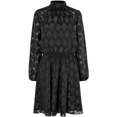 Karen Millen Metallic Jacquard Party Dress, Black ($220) ❤ liked on Polyvore featuring dresses, holiday party dresses, long sleeve midi dress, cocktail party dress, high neck cocktail dress and cocktail maxi dresses
