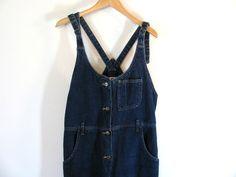 Vintage Blue Denim TStrap Back Jeans Bib by dirtybirdiesvintage, $40.00