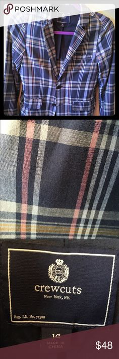 Boys J. Crew Crew Cuts Plain Blazer This is a great blazer!  My son wore it once for about 3 hours and it is in perfect condition. It is a blue plaid with lines of yellow, a dark pink/red and blue/green. J. Crew Jackets & Coats Blazers